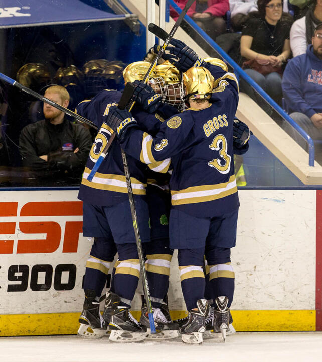 The Irish celebrate Sam Herr's goal in the second period.