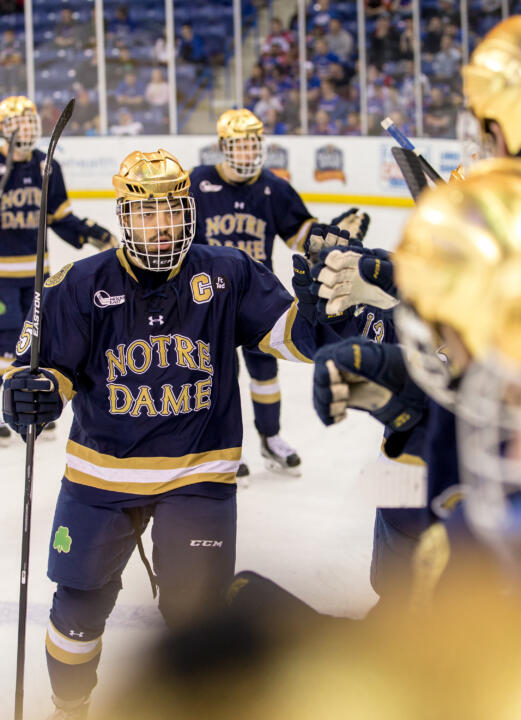Robbie Russo celebrating one of his 15 goals this year, the most nationally by a defenseman.
