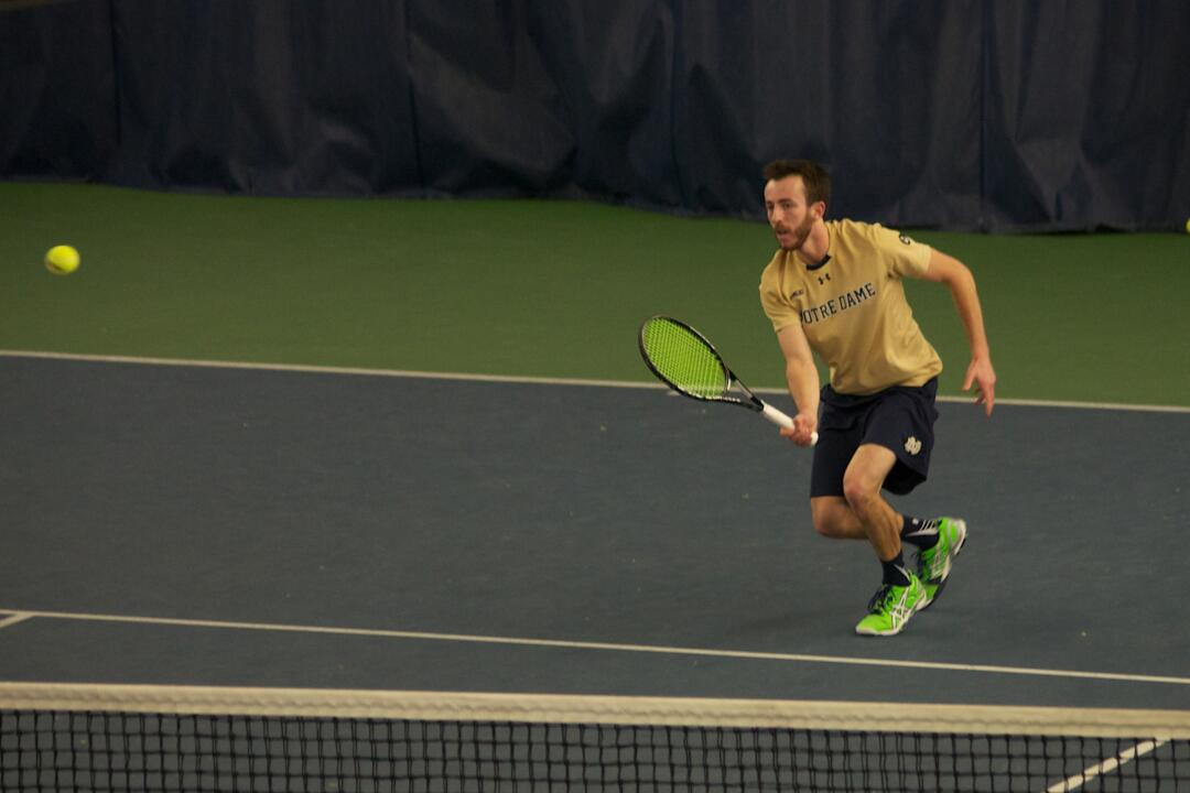 Senior Dougie Barnard got his first career dual match singles victory in the match against Boston College, a 4-6, 7-6(7), 1-0(10-2) victory over Matt Wagner.