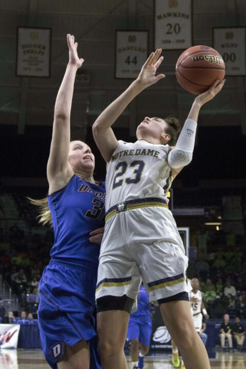 Junior guard/tri-captain Michaela Mabrey helped Notre Dame keep pace early in Sunday's Elite Eight win over Baylor, scoring all 14 of her points in the first half while making all four of her three-point attempts.