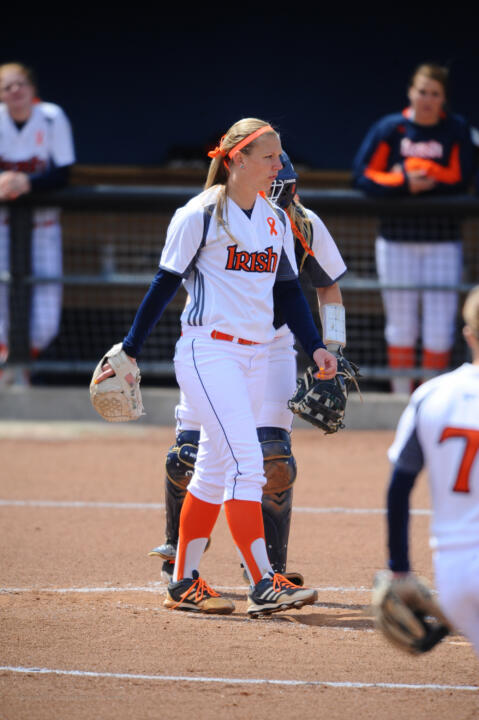 Junior pitcher Allie Rhodes earned both wins in the circle for No. 25 Notre Dame during a Saturday sweep of Syracuse