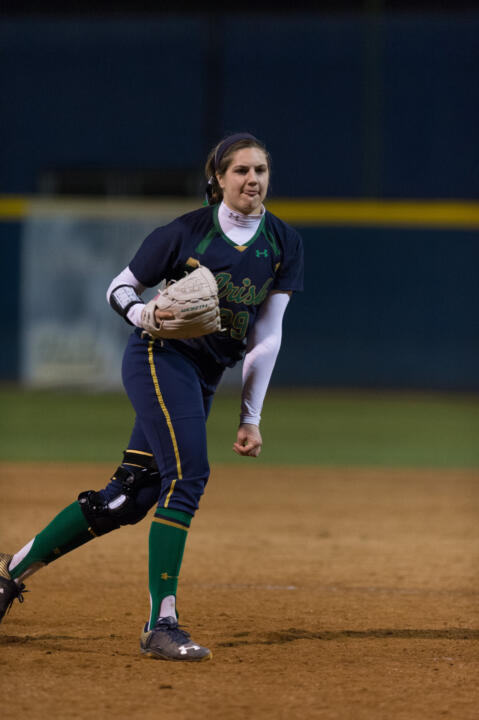 Freshman pitcher Katie Beriont notched her first career save after throwing three scoreless innings in Notre Dame's 8-2 win over Bowling Green on Tuesday night