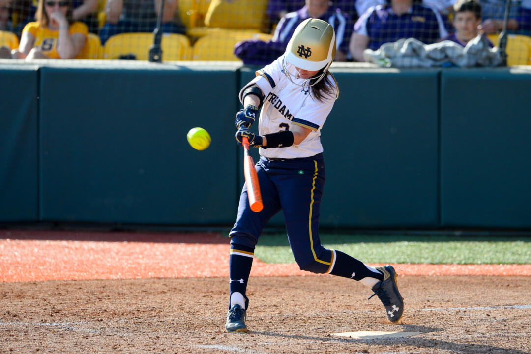 Freshman Morgan Reed reached base safely in five of her seven plate appearances Saturday, driving in four Notre Dame runs during a doubleheader sweep of Boston College