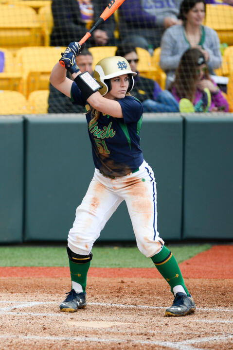 Senior Cassidy Whidden blasted a three-run home run to close a six-run Notre Dame sixth inning in Wednesday's win over Eastern Michigan
