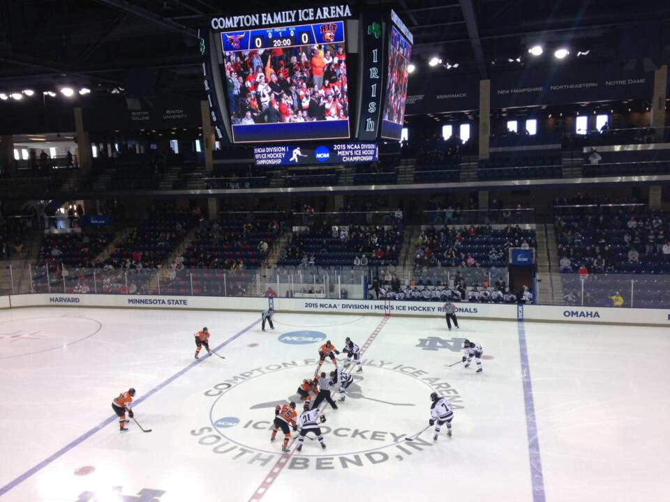 Notre Dame was the first school to host NCAA hockey games on its campus since Minnesota did it in 2009.