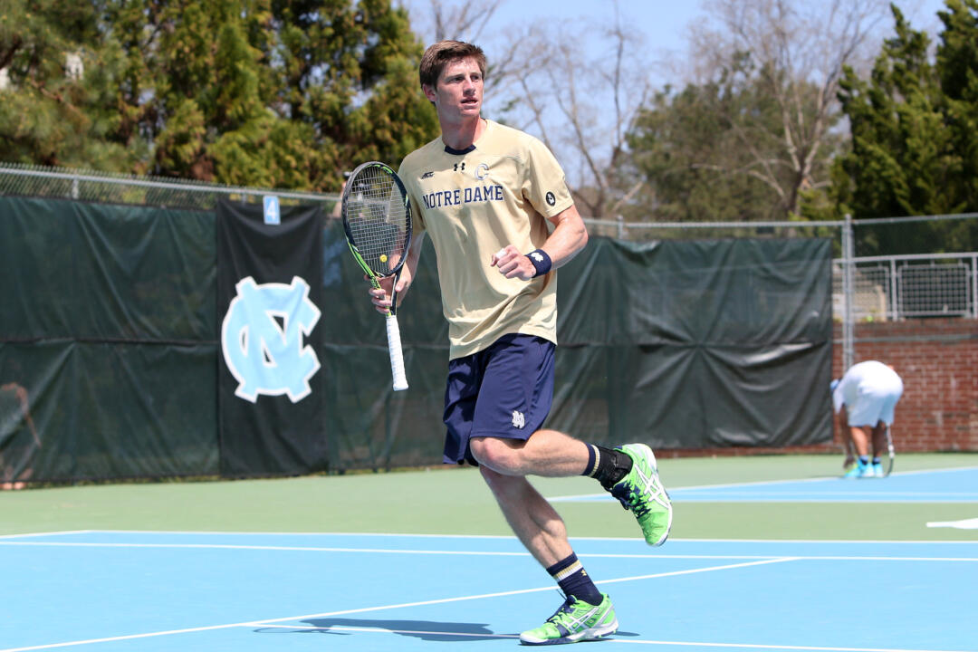 Junior Alex Lawson provided one of Notre Dame's two points on Sunday with a win at No. 5 singles.