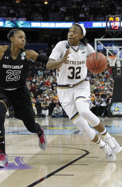 Jewell Loyd scored a game-high 22 points in Notre Dame'a 66-65 win over South Carolina in the NCAA Women's Final Four national semifinals on Sunday night in Tampa, Fla.