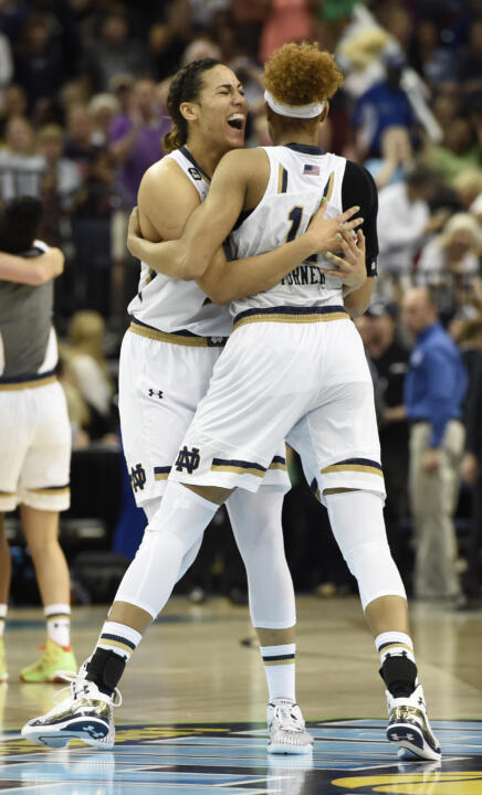 Sophomore forward Taya Reimer (left) and freshman forward Brianna Turner (right) played critical roles with their superb post play in Notre Dame's Final Four win over South Carolina Sunday night.