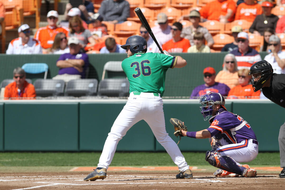Sophomore catcher Ryan Lidge tallied the only two RBI of the game Friday night in a 2-0 Irish victory over NC State.