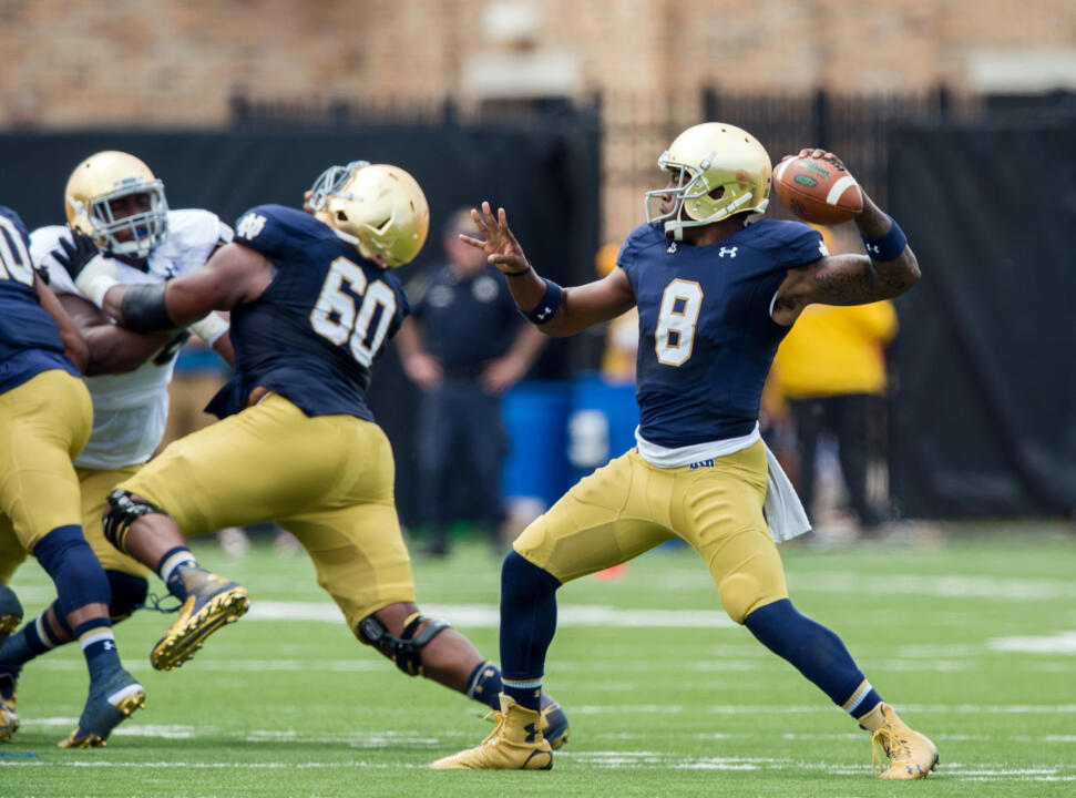 Malik Zaire completed 8 of 14 passes for 137 yards