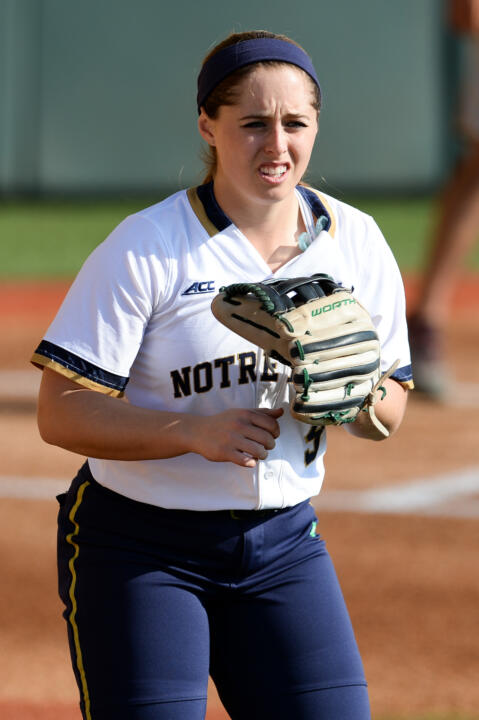 Senior Katey Haus batted .833 and make a team-high six assists in the field for Notre Dame in its two wins on Saturday