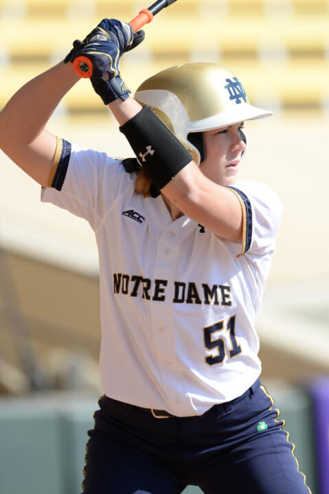 Senior Cassidy Whidden smashed her third career grand slam, finishing the day with seven total RBI in a pair of Notre Dame wins on Saturday
