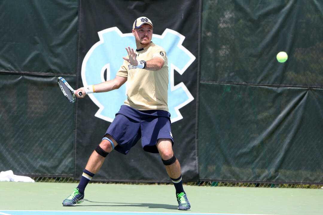 Senior Billy Pecor (pictured) and partner Alex Lawson knocked off No. 7 Ralf Steinbach and Kevin Metka in the first round of the NCAA Doubles Tournament, becoming the first Irish tandem to advance to the Round of 16 since 1998.