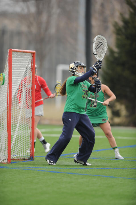 Liz O'Sullivan made seven saves to help the Irish beat Ohio State, 13-5, on March 21.