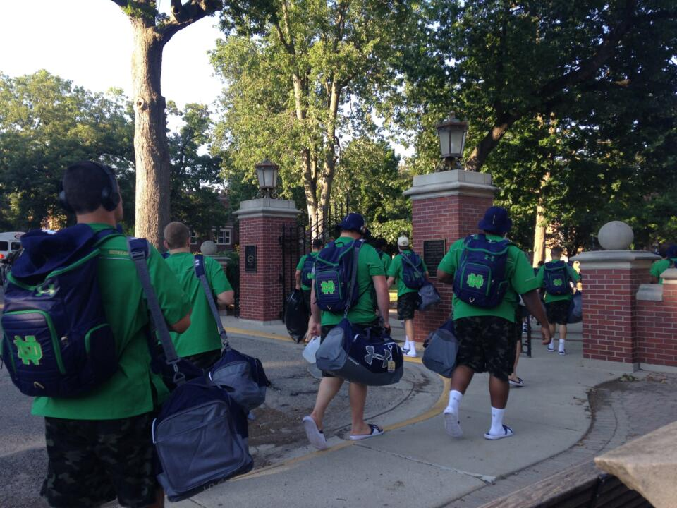 The Notre Dame football team arrived at Culver Academies on Thursday evening to begin preseason practice.