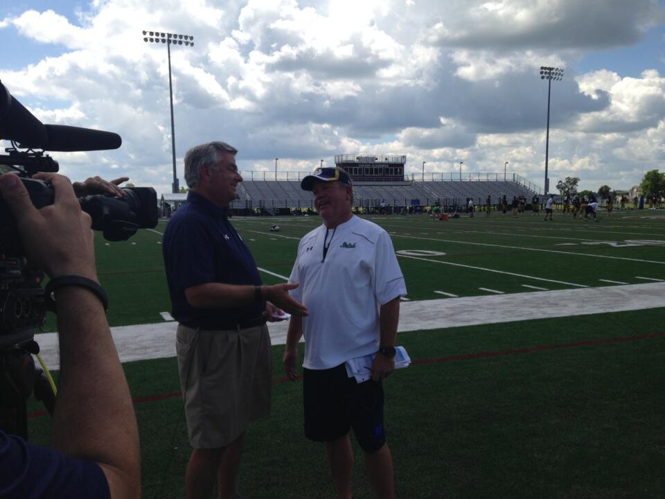 Jack Nolan and Brian Kelly share a laugh before their post-practice interview.