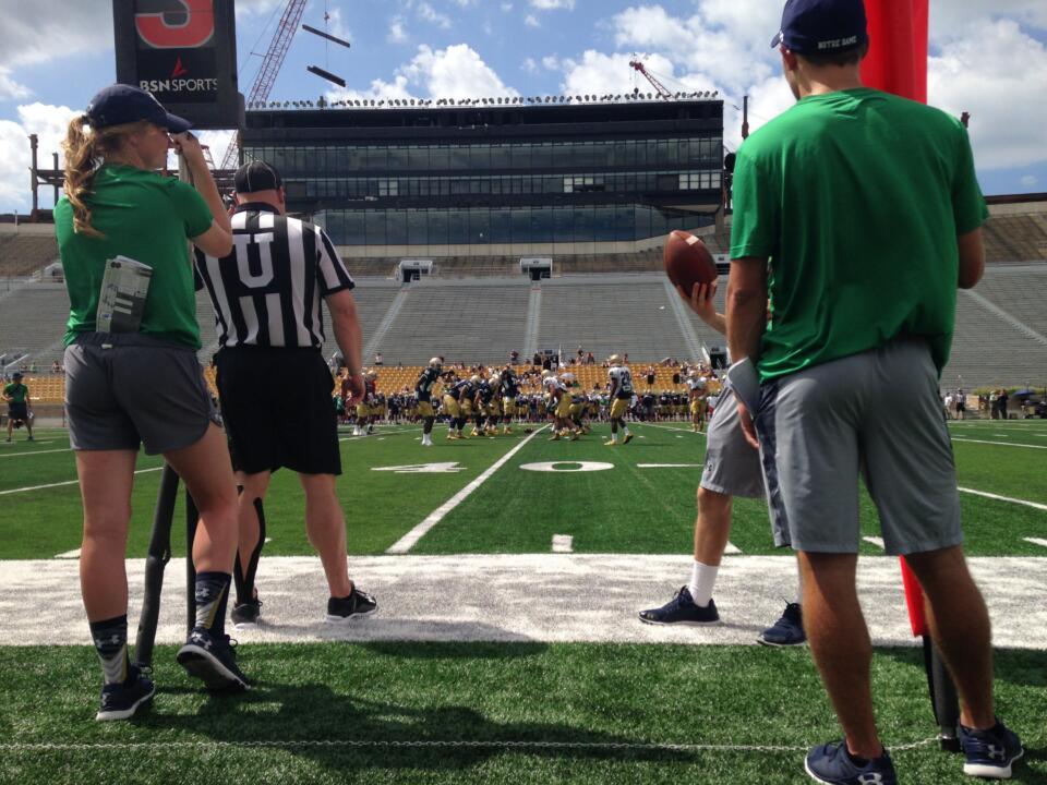 The Irish closed camp on a beautiful day at Notre Dame Stadium.