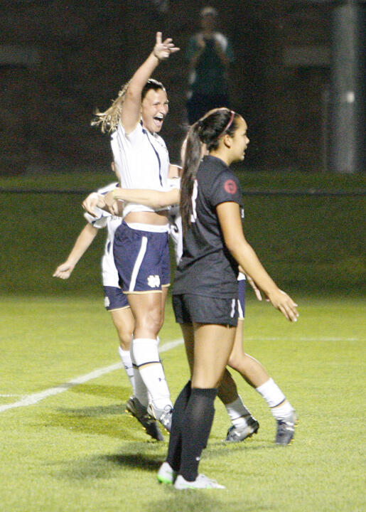 Senior midfielder/tri-captain Glory Williams celebrates after her match-winning goal with 9:10 left propelled #7/6 Notre Dame to a 2-1 win over Santa Clara on Friday night at Alumni Stadium.