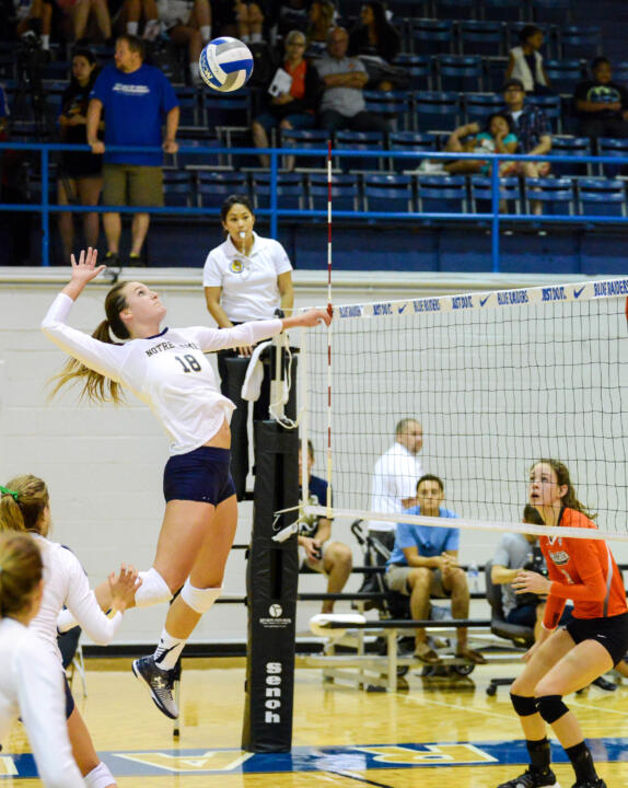 Junior co-captain Katie Higgins had a career-high 20 kills in a 3-2 loss to Cleveland State Saturday.