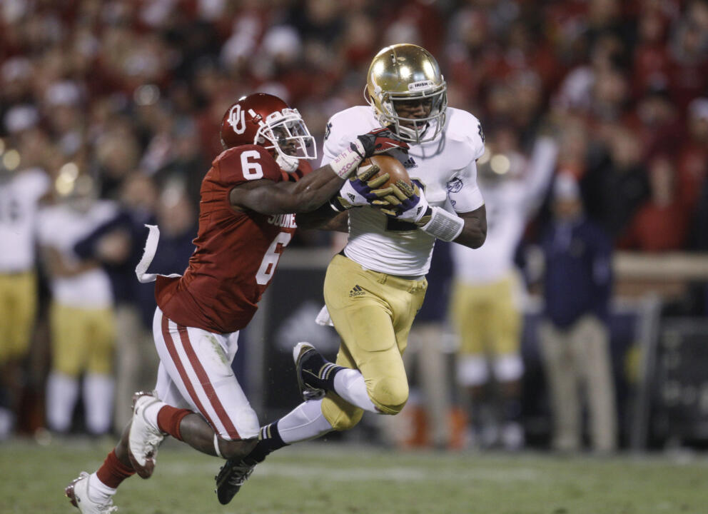 WR Chris Brown is among the active Irish players who had a role in a 2012 win at No. 8 Oklahoma.