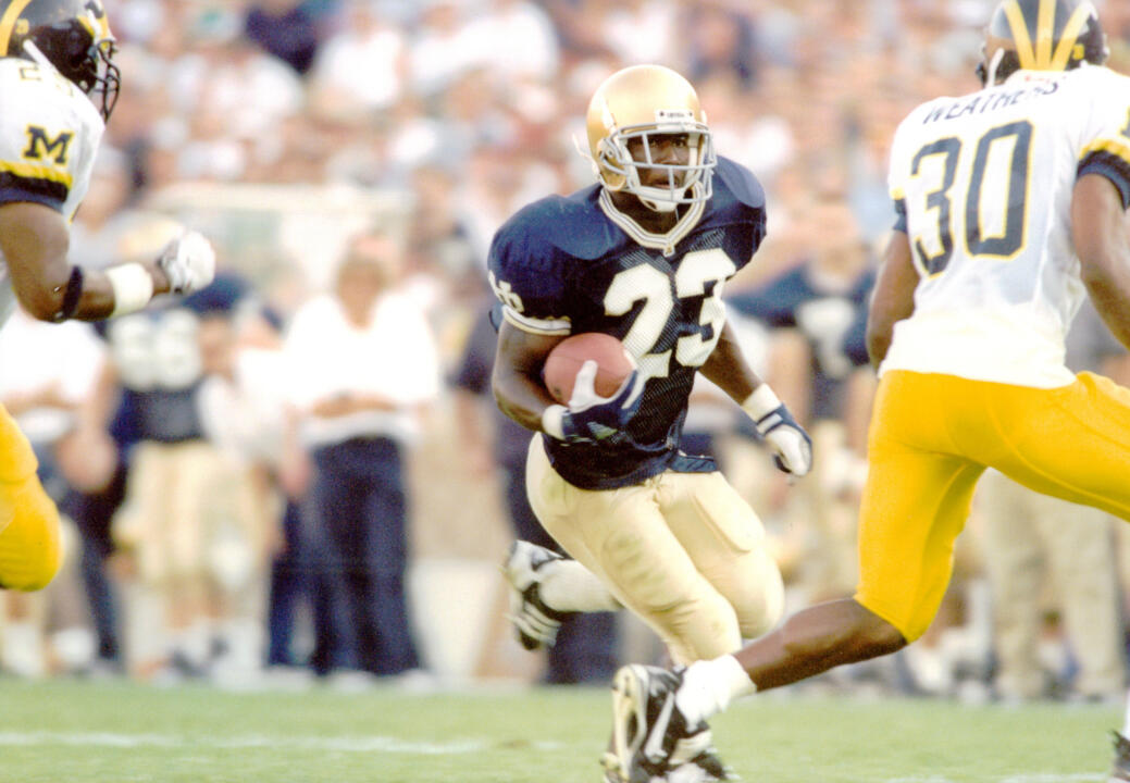 Autry Denson makes his Irish coaching debut on Saturday. In 1996, he ran for 158 yards and a TD in Notre Dame's win at Texas.