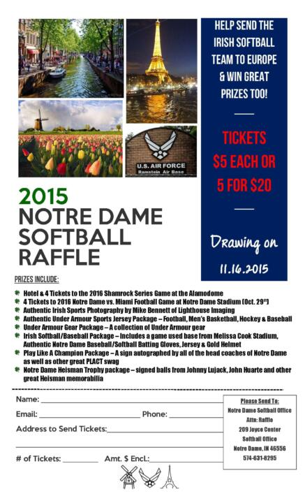 Raffle tickets to benefit Notre Dame softball's 2015 foreign tour are available on campus, particularly during upcoming home football weekends, or by contacting the Notre Dame softball office