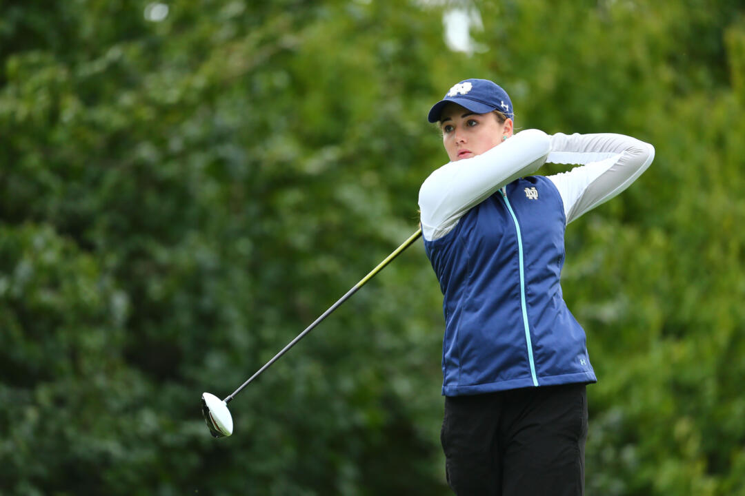 Freshman Emma Albrecht set a Notre Dame 36-hole scoring record (139/-3) and finished 12th, helping Notre Dame to a fifth-place finish at the Schooner Fall Classic at 567 (-1) on Monday in Norman, Oklahoma.