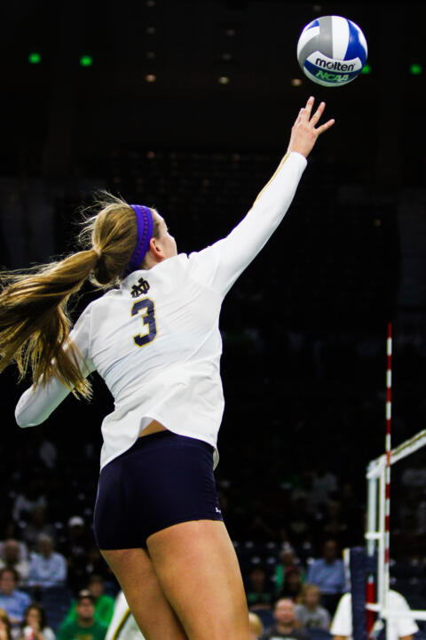 Sophomore Sam Fry leads the Irish in kills and points through nine matches in 2015.