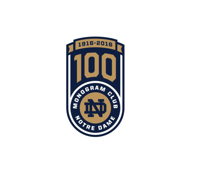 "The Monogram Club has unveiled a special logo for the celebration in addition to using the tagline ""A Century of Commitment to Notre Dame""."