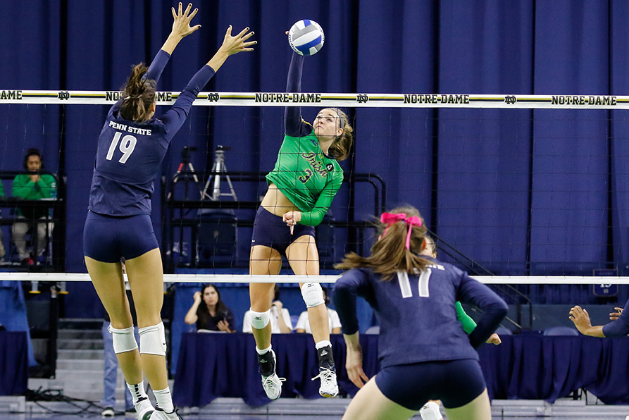Sophomore Sam Fry had 10 kills (.421 A%) in a 3-0 loss to Louisville Friday night.