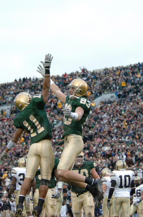 Under head coach Charlie Weis, Notre Dame wore green jerseys three times.  In the second year under Weis, and in the team's final regular season home game of the 2006 campaign, the Irish defeated Army 41-9 and went on to finish the season with a 10-3 record.