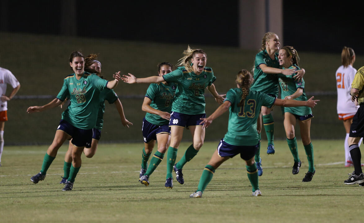 Senior Anna Maria Gilbertson celebrates after her golden goal to top No. 1 Virginia 2-1 in double overtime on Thursday.