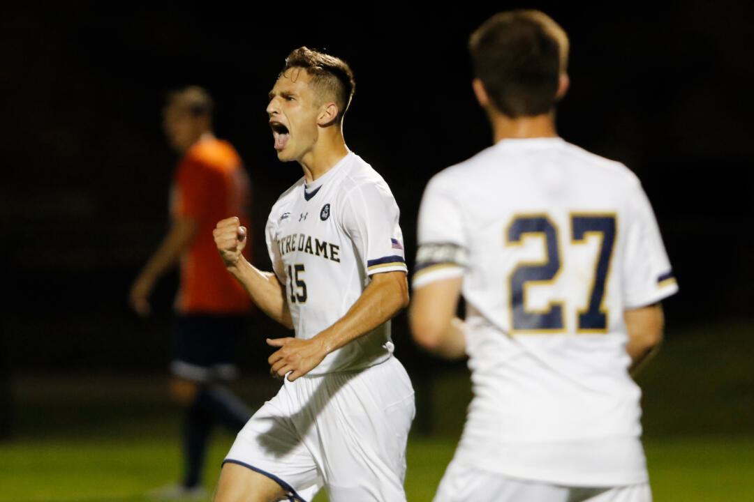 Senior midfielder Evan Panken scored the game-winning goal in the 78th minute to power Notre Dame to a 3-1 win over No. 4 Virginia on Friday at Alumni Stadium