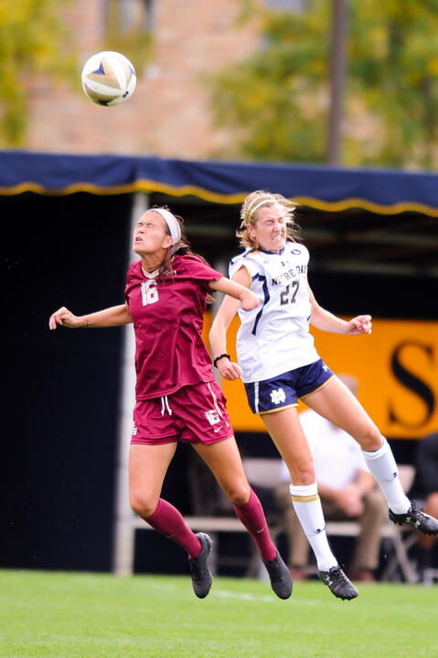 Junior forward Kaleigh Olmsted goes up for a header against FSU's Carson Pickett on Sunday.