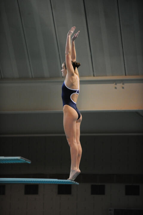 Diver Lindsey Streepey ruled the Rolfs Friday night, winning both diving events.