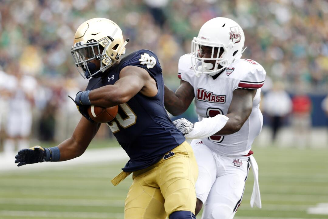 C.J. Prosise became the third Notre Dame running back since 1902 with two separate three-touchdown rushing games in the same season in Saturday's 41-24 win over Navy