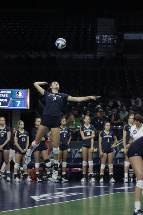 Irish sophomore Sam Fry is one of six players that have nine or more service aces this season.