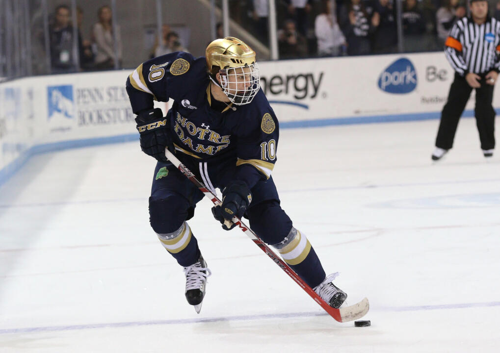 Anders Bjork is one of five Notre Dame players who registered at least one point in each game versus Penn State last weekend.