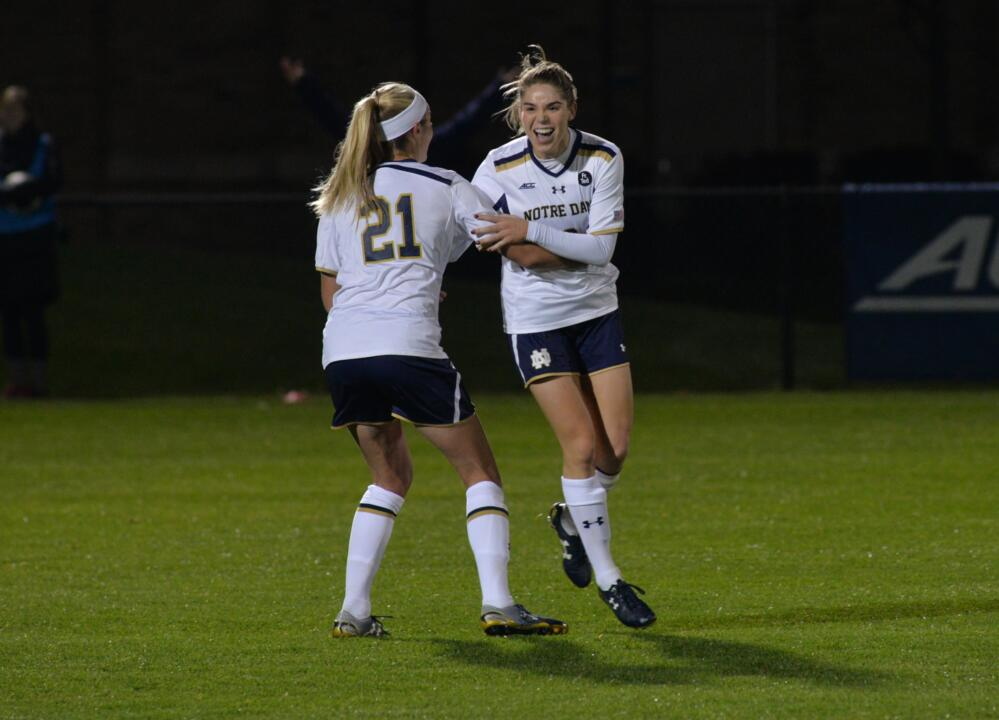 Seniors Brittany Von Rueden (left) and Anna Maria Gilbertson celebrate following Gilbertson's second goal of the night Friday as Notre Dame defeated Virginia Tech 3-0 at Alumni Stadium.