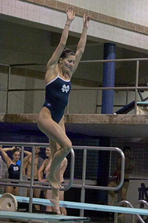 Emma Gaboury was the top diver for the Irish Saturday, earning third place in the women's 1-meter event.