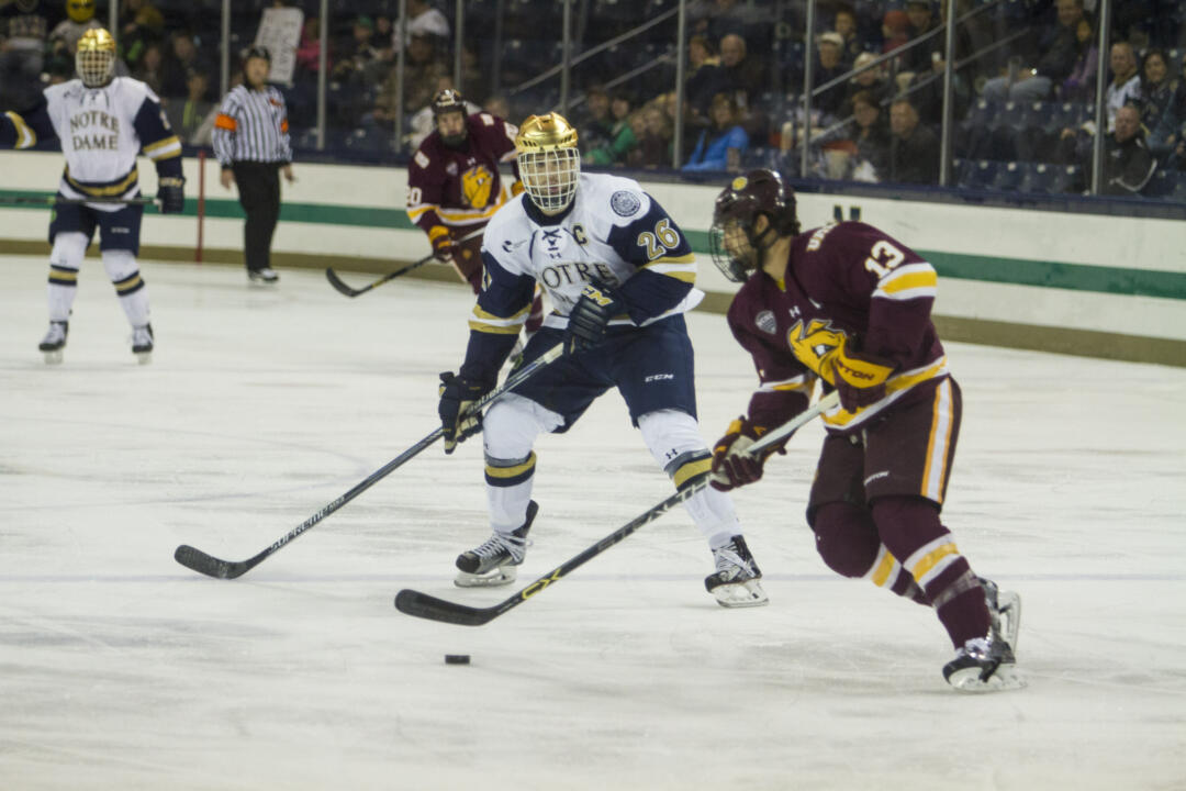 Steven Fogarty leads the Irish with eight points (4-4-8) on the season.