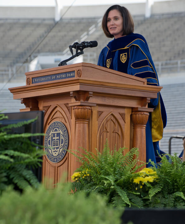Haley Scott DeMaria gave the University of Notre Dame commencement address in 2012.