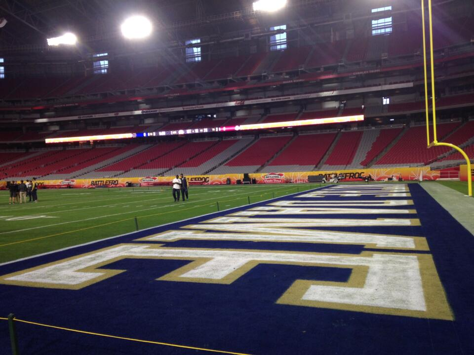 The home of Super Bowls XLII and XLIX is set up and awaits the Fighting Irish on Friday.