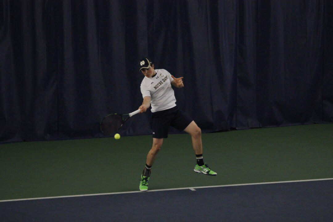 Senior Eric Schnurrenberger helped the Irish to a 6-1 victory over Michigan State with wins in both doubles and singles.