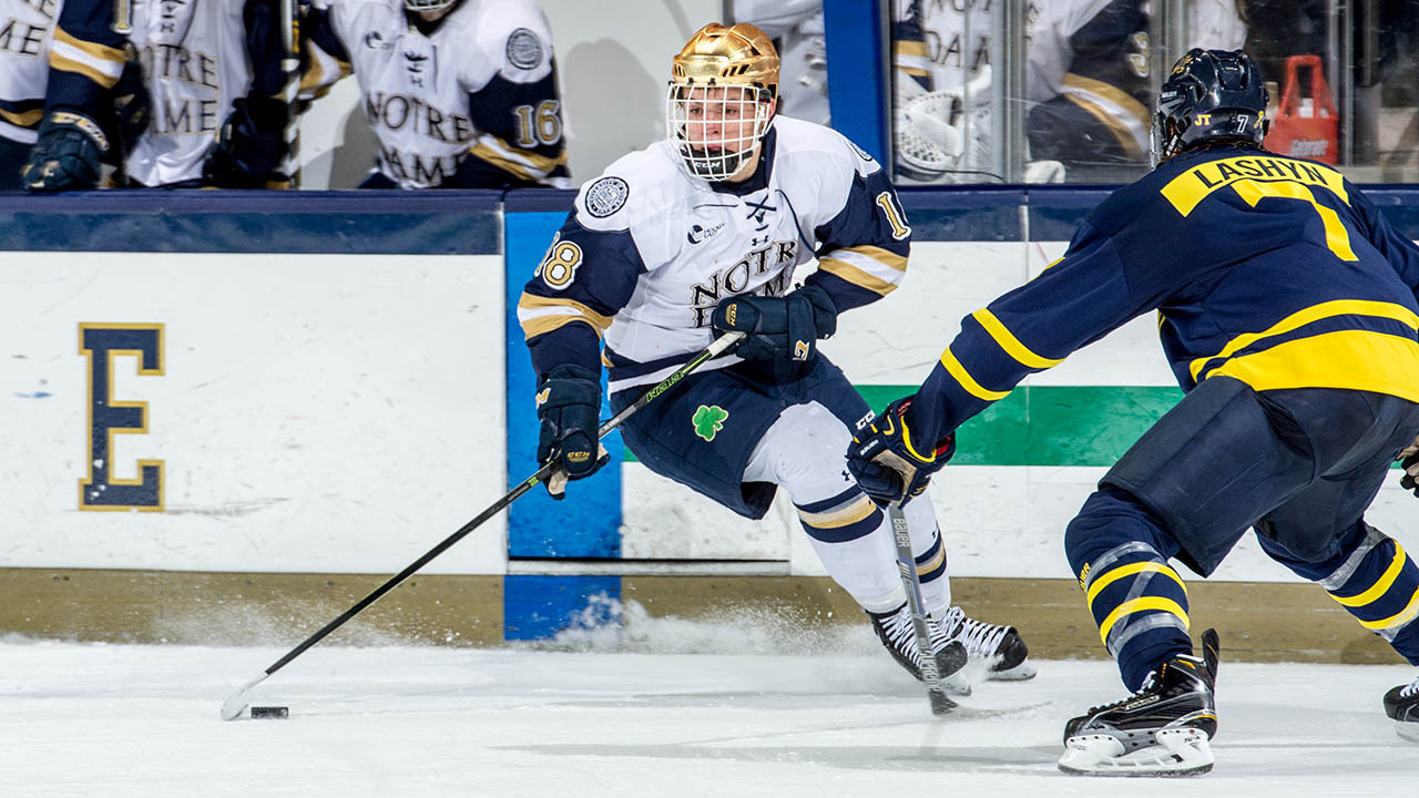 Jake Evans leads the Irish with 19 assists.