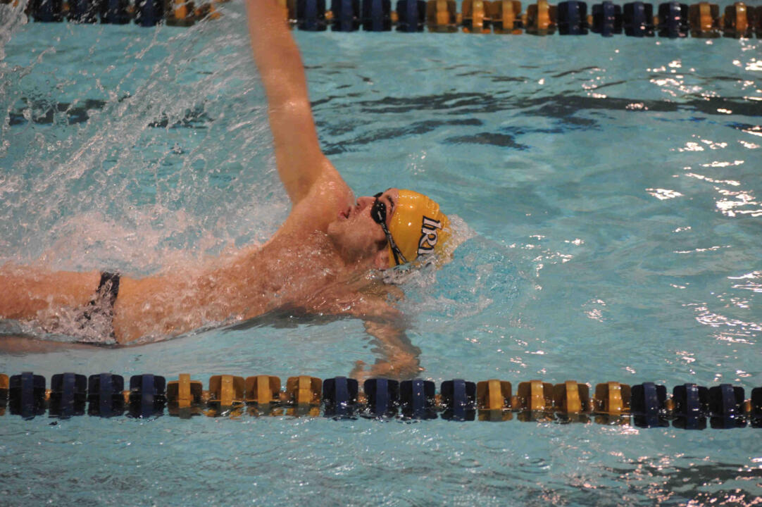 Senior Bogac Ayhan won the 100 back in today's meet.