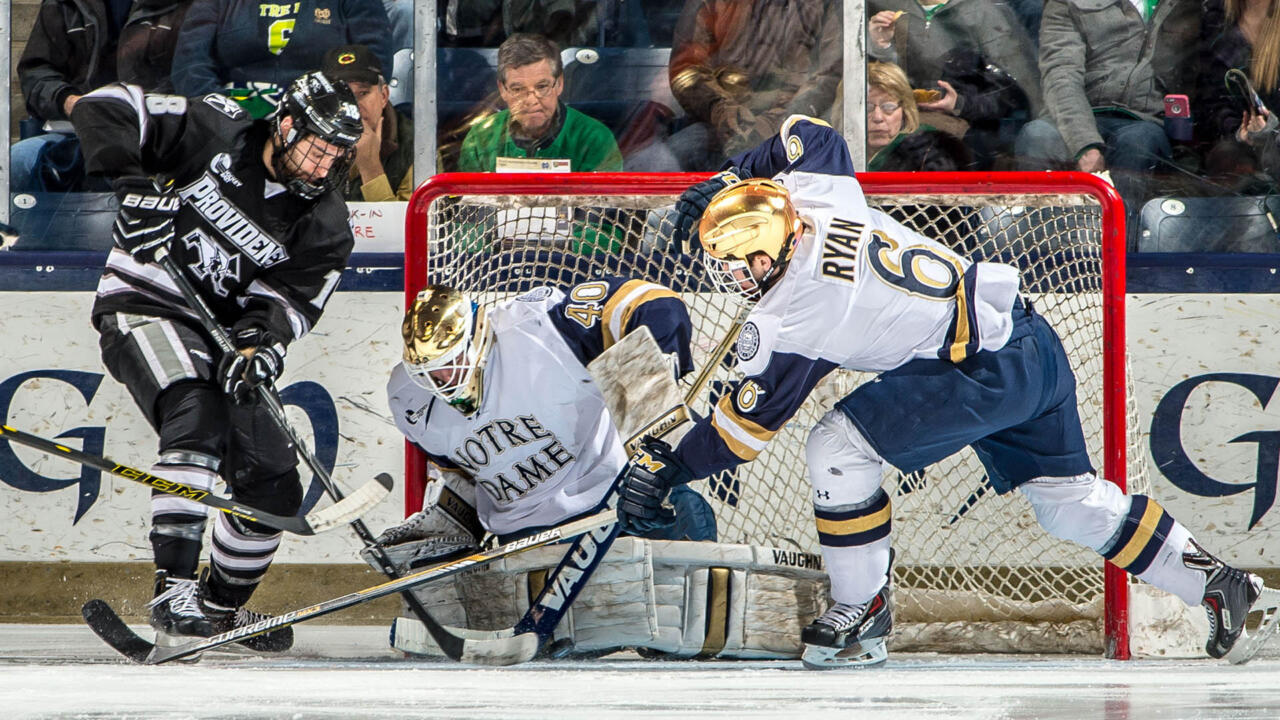Cal Petersen had a 38-save shutout against Providence last season.