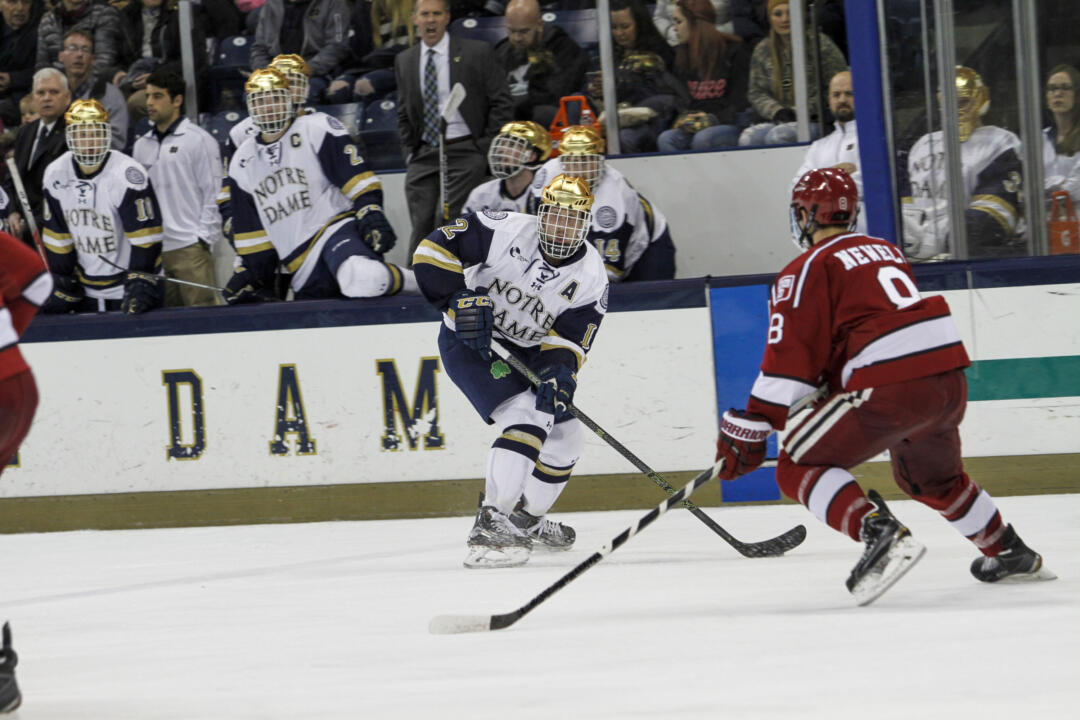 Sam Herr scored a pair of third period goals against the Catamounts on Nov. 2, 2013 to lift Notre Dame to its first Hockey East victory.