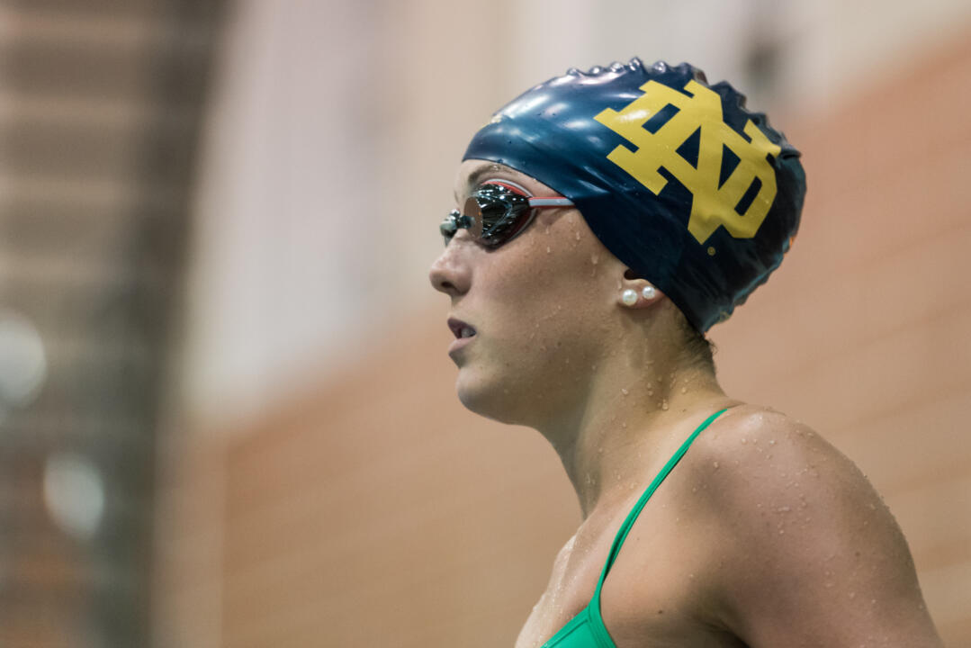 Ella Moynihan claimed the second-fastest 800 free relay lead split in Notre Dame history Wednesday night.