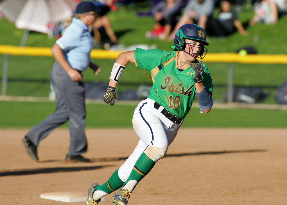 Sophomore outfielder Bailey Bigler batted .571 with two doubles, three RBI and three runs scored in two Notre Dame wins Saturday at the Mary Nutter Collegiate Classic